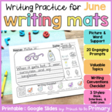 Summer Writing Prompts Practice Mats for June