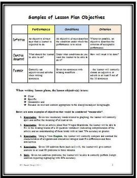 Writing Measurable Lesson Plan Objectives the Easy Way