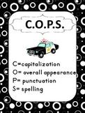Call the COPS - Writing Mechanics Poster in Black & White Swirly Print