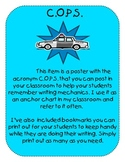 Call the COPS - Writing Mechanics Poster in Turquoise w/ Bookmarks for Students