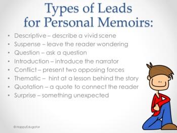 Writing Memoir Leads PowerPoint - Strategies to Hook Your Reader