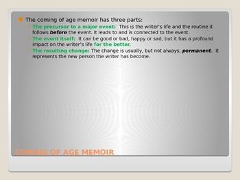 Writing Memoir PowerPoint Coming of Age Unit Guide