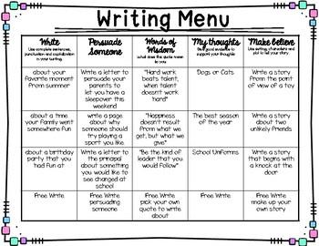 Writing Menu