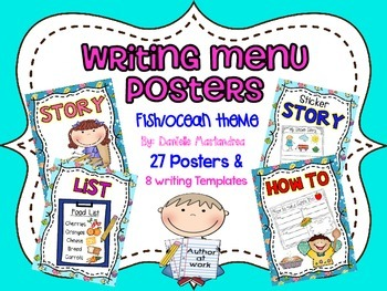 Writing Menu Posters {27 Posters & 8 Writing Templates) {O