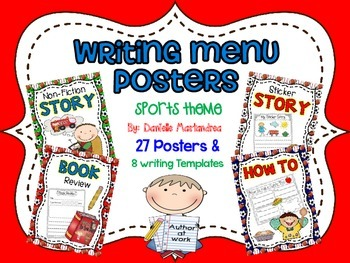 Writing Menu Posters {27 Posters & 8 Writing Templates) {S