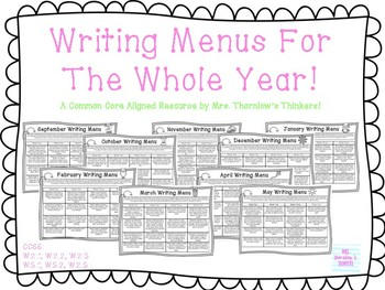 Writing Menus for the WHOLE YEAR!