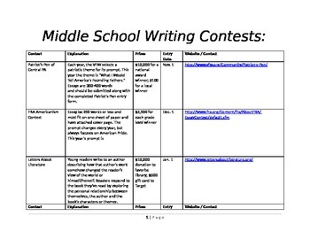 Writing - Middle School Writing Contests