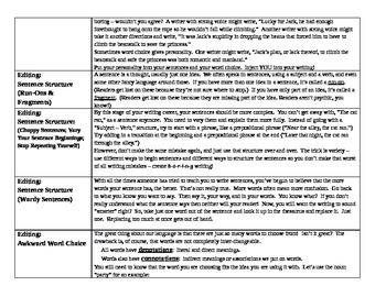 Writing Mini-Lesson Recap: Personal Writing Checklist