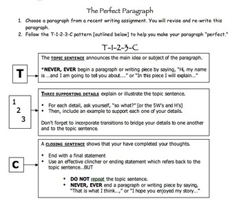 Writing Mini-Lesson: The Perfect Paragraph