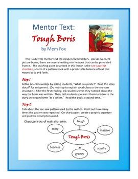 "Writing Mini-lesson with Mentor Text ""Tough Boris"" For Grades 1 & 2"