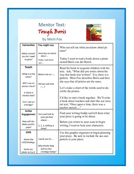 "Writing Mini-lesson with Mentor Text ""Tough Boris"" For Grades 1 & 2"