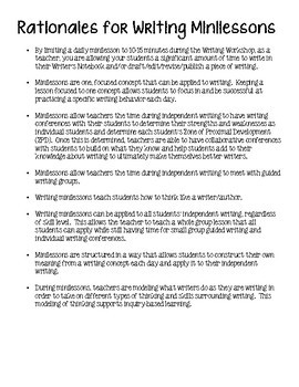 Writing Minilessons for Middle School to use in Writing Workshop