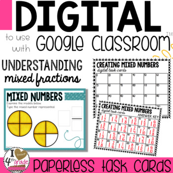 Mixed Numbers Digital Task Cards for Google Classroom