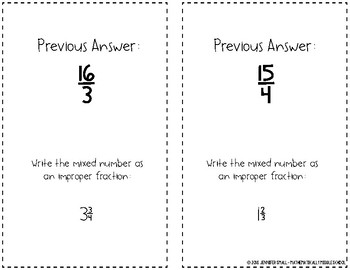 Writing Mixed Numbers as Improper Fractions Scavenger Hunt