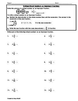 Writing Mixed Numbers as Improper Fractions Worksheet