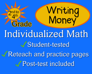 Writing Money - Individualized Math - worksheets