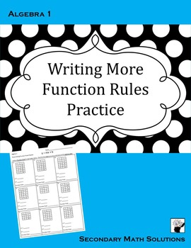 Writing More Function Rules Practice