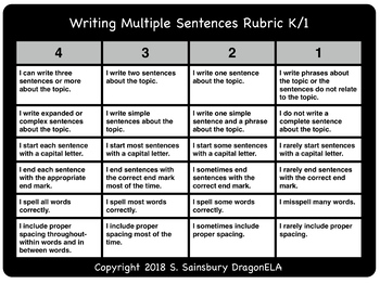 Writing Multiple Sentences Rubric