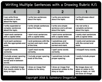 Writing Multiple Sentences with a Drawing Rubric