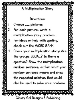 Multiplication Story Problems CCSS.Math.Content.3.OA.A.3 WORD PROBLEMS