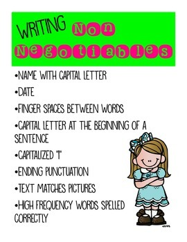 Writing Non Negotiables First Grade Poster Freebie