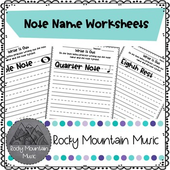Writing Note Name Worksheets by Rocky Mountain Music | TpT