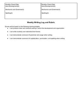 Writing Notebook Grading Rubric