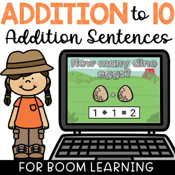 Writing Number Sentences & Adding to 10 BOOM Cards Deck Paperless Digital