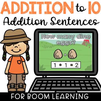 Boom Cards Addition Sentences to 10 Digital Math Task Cards