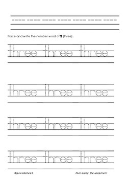 Writing Number Words one to ten