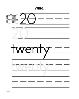 Writing Numbers 0 to 20 (CCSS K.CC.A.3)