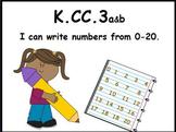 Writing Numbers 0-20 Math Center (K.CC.3)