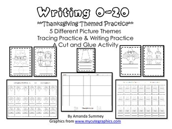 Writing Numbers 0-20 / Thanksgiving Themed Number Writing