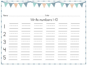 Writing Numbers 1-10 and 11-20, Number Practice Printable
