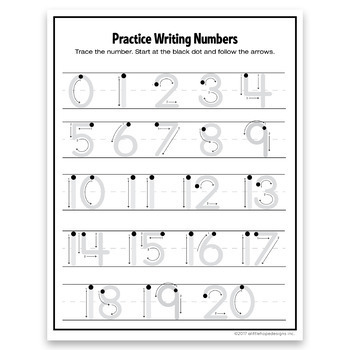 Playful image within free printable tracing numbers 1-20 worksheets