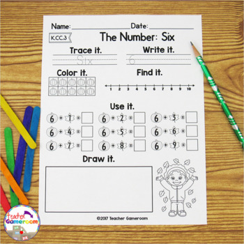 Writing Numbers Fall Worksheets - K.CC.3