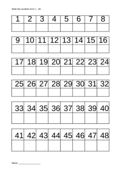Writing Numbers From 1 to 48