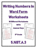 Writing Numbers In Word Form