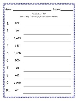Writing Numbers In Word Form - Tens To Thousands
