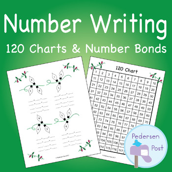 Writing Numbers Within 120 - Christmas Light 120 Charts and Number Bonds