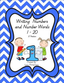 Writing Numbers and Number Words 1 - 20 - D'Nealian