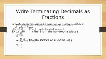 Writing Numbers as Fractions
