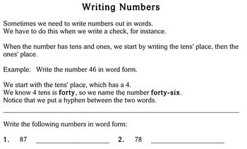 Writing Numbers in Different Forms, 2nd grade - Individualized Math - worksheets