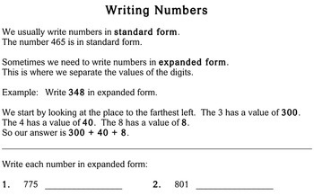 Writing Numbers in Different Forms, 3rd grade - Individualized Math - worksheets