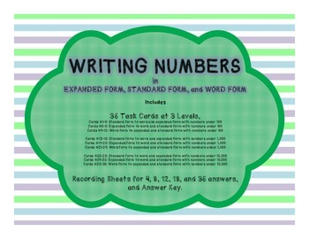 Writing Numbers in Expanded, Standard, and Word Form Task Cards