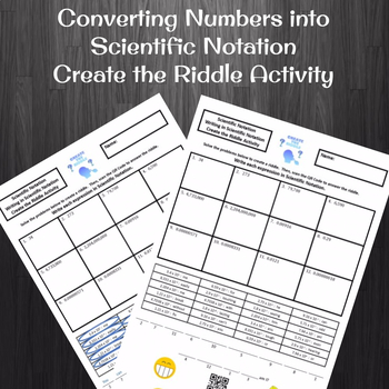 Writing Numbers in Scientific Notation Create a Riddle Activity
