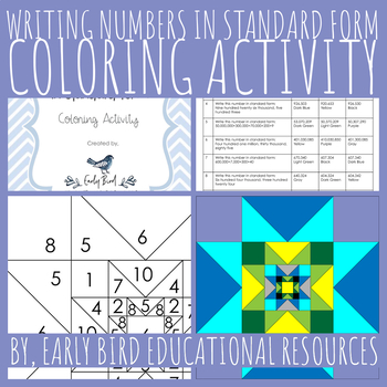 Writing Numbers in Standard Form Coloring Activity