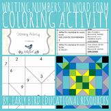 Writing Numbers in Word Form Coloring Activity