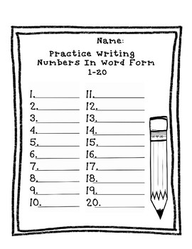Writing Numbers in Word Form Practice Sheets (Packet)