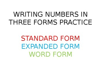 Writing Numbers to 120 in Three Forms Practice for White Boards